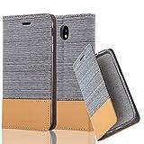 Cadorabo Hülle für Samsung Galaxy J7 2017 (7) - Hülle in HELL GRAU BRAUN – Handyhülle mit Standfunktion und Kartenfach im Stoff Design - Case Cover Schutzhülle Etui Tasche Book
