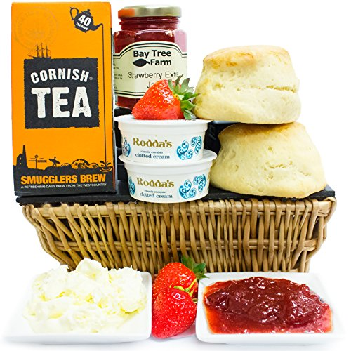 CLASSIC CORNISH CREAM TEA HAMPER - English Cream Tea Hampers with Clotted Cream Scones and Fine Jams an Ideal Easter Hamper and Fathers Day Hamper by Eden4hampers