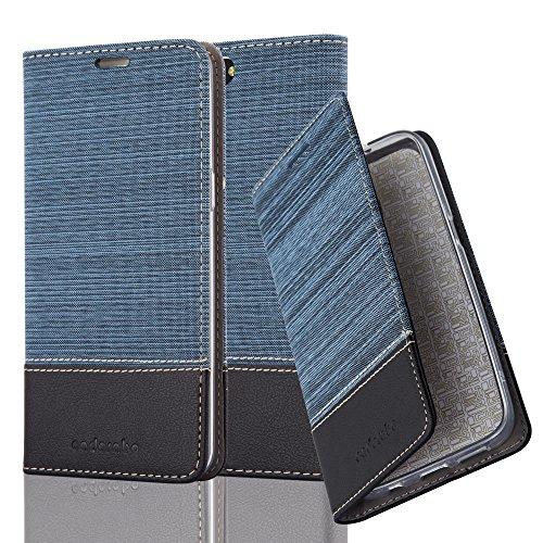 Cadorabo Hülle für OnePlus 5 - Hülle in DUNKEL BLAU SCHWARZ – Handyhülle mit Standfunktion und Kartenfach im Stoff Design - Case Cover Schutzhülle Etui Tasche Book