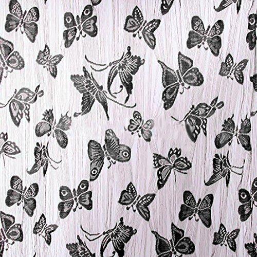 Fashion Schmetterling Muster Quaste String Dekoration Platten Sheer Vorhang für Wohnzimmer, schwarz, M