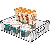 mDesign boîte en plastique avec poignées – boîte pour frigo avec deux compartiments pour ranger les aliments – caisse de…