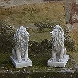 Sonderangebot: Herrliches Löwen Paar klein Torwächter aus Steinguss frostfest