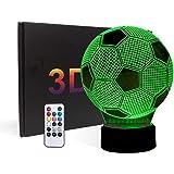Football 3D LED Veilleuse,3D Illusion Soccer Effet USB de charge LED Night Lamp avec 7 couleurs changeantes pour la maison/bu