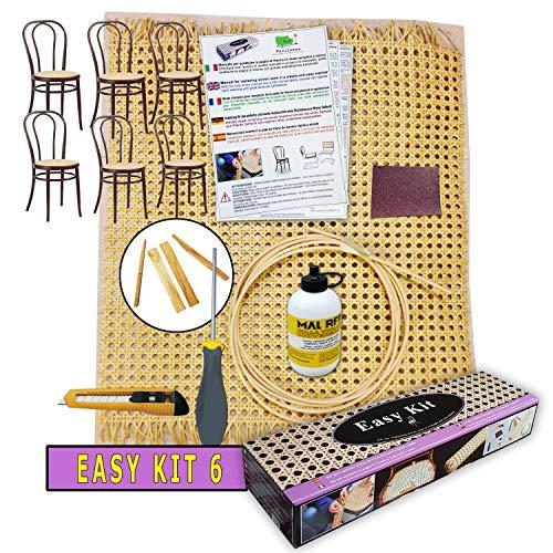 Paglia di vienna per sedie e sgabelli   kit per riparazione - facilcasa - sostituzione, ricambio, retina, sedute con tessuto di giunco, manuale 5 lingue cm. 90x46 - (6 kit per 6 sedute)