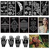 14 Hojas Henna Tatuajes Temporales Plantillas, Mehndi Templo, árabe Indio Pintura Arte Mano, Cuerpo