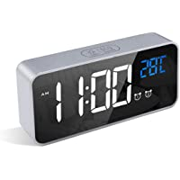 LATEC Réveil Numérique, Alarm Réveil LED avec Fonction Snooze, Charge des Ports USB (Argent)