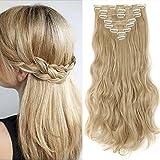 Extension Capelli Clip in Hair Estensioni 8 Fasce Full Head 42cm Capelli Lunghi Mossi Ricci, Biondo Scuro & Biondo Chiarissimo
