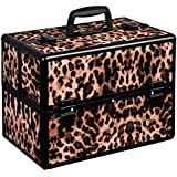 House of Quirk Make Up Train Case Portable Professional Cosmetic Organizer (Leopard, IN-MAKBOX)