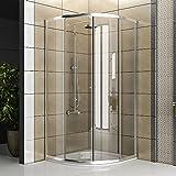 Duschkabine aus klarem Sicherheitsglas / Echtglas Dusche / 90 x 90 x 190 cm / Duschkabine / Viertelkreis / Duschabtrennung / Modell Fugo-Viertelkreis / Angebot