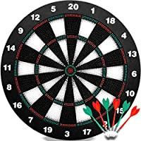 QDUB Safety Dart Board Set-16.5 Inchs Game Dartboard Set With 6 Safty Darts - Staple-free Bullseye - with Rotating Number Ring - Inhouse Toy Office and Family Entertainment