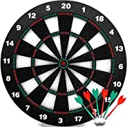 QDUB Safety Dart Board Set-16.5 Inchs Game Dartboard Set With 6 Safty Darts - Staple-free Bullseye - with Rota