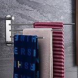 ZUNTO Schwenkbarer Handtuchhalter Ohne Bohren Selbstklebend Stark Kleber 3-Arme Faltbarer Handtuchstange Bad, Edelstahl