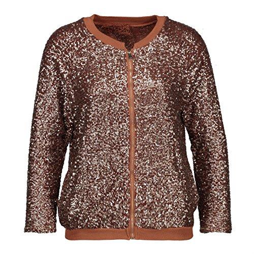 H4F Damen Bomberjacke Glitter Blouson Jacke mit Pailletten One Size 36 38 40