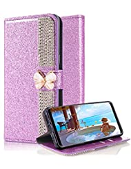 Für Samsung Galaxy S9 Plus Hülle,Aearl Klauenkette Schmetterling Diamant Glitzer Flip Case Cover PU Lederhülle Magnetverschluss Ledertasche mit Stander Function Card Slot Handy Tasche mit Displayschutzfolie für Samsung Galaxy S9 Plus - Lila