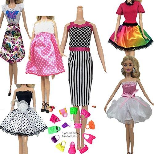 Stillshine 6 Pcs Puppen Bekleidung + 3 Paar Schuhe + 3 Stück Handtasche Schultertasche, Handgemachte Casual Kurzer Rock für Barbie-Puppe/ Puppen Zubehör (A)