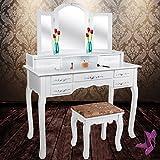 Kesser® Schminktisch Kosmetiktisch Frisierkommode ✓ Spiegel ✓ Schubladen ✓ Hocker | Schminkspiegel | Stylingstation | Farbe: Weiß | Modell: KE-ST-ER
