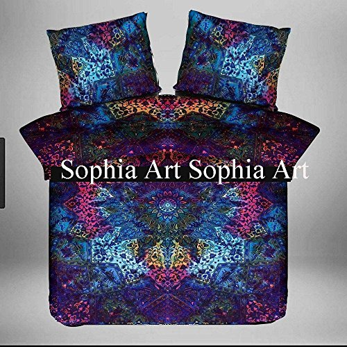 Sophia Art indischen Tröster Queen, Steppdecke, Set Baumwolle handgefertigt, Bettbezug handgefertigt Doona Tröster Bohemian Star Mandala Überwurf (Multi) -