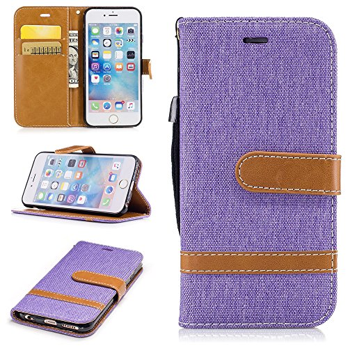 iPhone 6 Plus Case,iPhone 6S Plus Wallet Case [Drop Protection] Canvas Diary [Denim Material] Wallet Case [ID Card / Cash Slot] Stand Flip Cover Shock Absorbing TPU Casing for iPhone 6 Plus BF-6-Plus-77