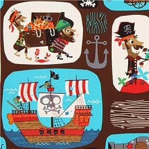Tissu Pirates Patchwork marron, pirates, ancre, trésor