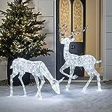 Lights4fun LED Figuren Hirsch und Reh innen außen