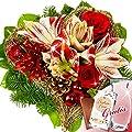 Blumenstrauß Weihnachtszeit mit Vase & Merci Schokolade von FloraPrima auf Du und dein Garten