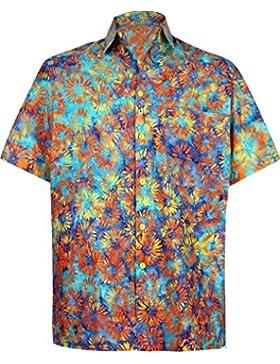 *La Leela* Spiaggia degli Uomini del Cotone Pulsante Hawaiano Manica Corta in Giù la Camicia Turchese