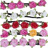 Multicolor Fleur Bandeau – ZWOOS 5 Pièces Bandeau Élastique de Faux Fleurs Serre Tête Florale de Plage pour Mariage et Fête