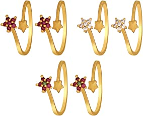 Much More Ethnic Floral Design Work Toe Ring for Women & Girls Jewelry (Pink,Green & White)