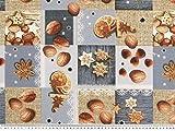 ab 1m: Weihnachtsstoff, Nüsse-Kekse, blau-beige, 140cm