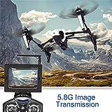 Wltoys Q333A Große Drohne mit Kamera und FPV Bildschirm 5.8G Live Übertragung Monitor 720P Cam Headless Modus für Erfahrener, mit 4G Speicherkarte, Garantie, 1 Akku, Weiß, Maße 31x31x16 cm