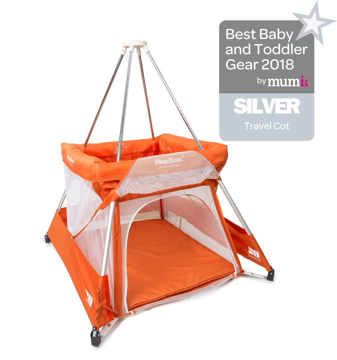 BabyHub SleepSpace Travel Cot with Mosquito Net, Orange BabyHub Three cots in one; use as a travel cot, mosquito proof space and reuse as a play tepee Includes extra mosquito net cover that can be securely in place Can be set up and moved even while holding a baby 1