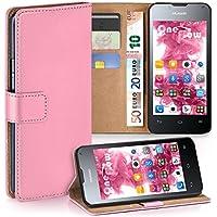 MoEx Huawei Ascend Y300 Hülle Rosa mit Karten-Fach [OneFlow 360° Book Klapp-Hülle] Handytasche Kunst-Leder Handyhülle für Huawei Y300 Case Flip Cover Schutzhülle Tasche