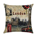hengjiang Vintage City Serie Pisa New York London Paris Rom Home Kissenbezug Baumwolle Bettwäsche Kopfkissenbezug Quadratisch Retro Doppelseitig Kissen London 01
