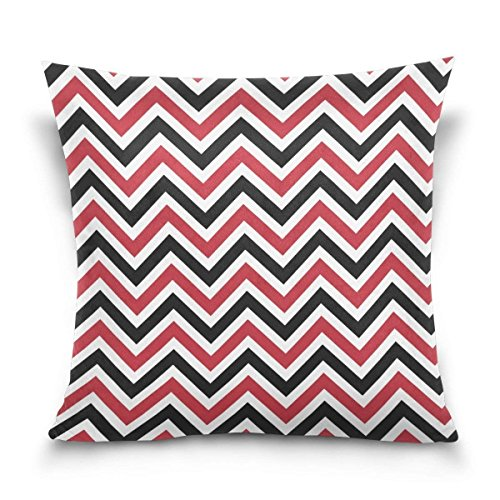 Hectwya Black and Red Chevron Square Throw Pillow Case Cotton Velvet Cushion Cover 18