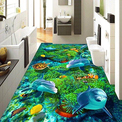 Ohcde Dheark Custom 3D Private Stock Wallpaper Wandbild Cartoon Unterwasserwelt Turtle Coral Dolphin Kids' Betten Zimmer Selbstklebende Tapete 350cmX245cm(137.8 by 96.5 in )