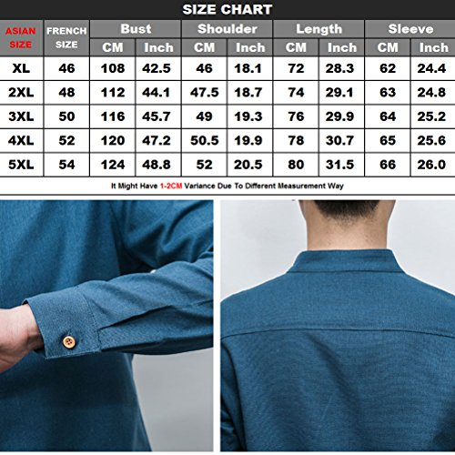 Zhhlaixing für Männer Mens Long Sleeve Linen Slim Fit Shirts Button Collared Size XL to 5XL White