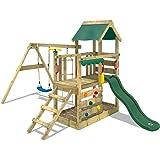 WICKEY Parco giochi in legno TurboFlyer Giochi da giardino con altalena e scivolo verde, Torre d'arrampicata da esterno con s