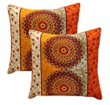 #7: AURAVE Traditional Yellow and Orange Premium Cotton Cushion Cover - 24 inch x 24 inch (Set of 1 pc)