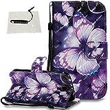 Samsung Galaxy S4 Hülle Leder TOCASOHandyHülle Galaxy S4 Wallet Case Flip Brieftasche Lederhülle Holster Kartenfächer Magnet Etui - -Violetter Schmetterling