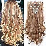 Haarteil Clip in Extensions wie Echthaar Hellbraun/Honigbraun 8 Tresssen günstig komplette Haarverlängerung Gewellt 24