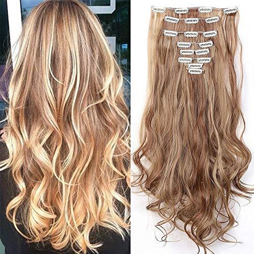 Extension clip capelli con meche hair mossi lunghi 60cm full head 8 fasce estensioni, marrone chiaro mix biondo chiaro