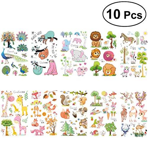 Toymytoy 10 fogli cartoon animal tatuaggi temporanei adesivi impermeabili bomboniere per ragazze