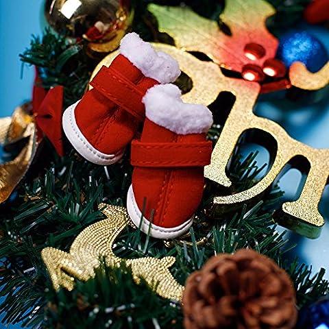 leskyram (TM) vacaciones de Navidad 4pcs cálido invierno zapatos botas de peluche rojo algodón cubierta Pinza para Pet Puppy Dog Ropa para Mascota Perro Gato Cachorro, Rojo, 3
