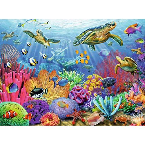 Meer Unterwasserwelt Schildkröte Fisch Korallen Porträt Dekor 5D Vollbohrer Verziert Kreuzstich Kits Strass Sticks DIY Leinwand Diamant Kunsthandwerk Gemälde für Wand Flur 30x40cm (12\'\'x16\'\')