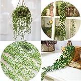 Sencillo Vida Enredaderas Artificiales con Hojas de ratán Verde Tallos Flores Secas para la...