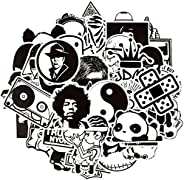 Waterproof Vinyl Stickers Bomb Laptop Skateboard Car Decals (50Pcs Black and White Style)