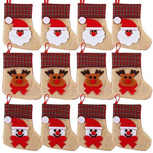 chten Strümpfe Geschenk 3D Santa Claus Schneemann Rentier Weihnachts Jute Besteck Strumpf für Weihnachtsschmuck (Mini-filz-weihnachts-strümpfe)