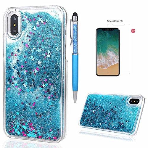 xhorizon MLK Couverture housse avec arrière dure avec dessin de sables mouvants liquides dynamiques bling et étoiles scintillantes pour iPhone X / iPhone 10 (2017) avec un stylet Bleu +9H Glass Tempered Film