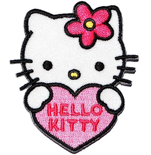 alles-meine.de GmbH Bügelbild -  Hello Kitty - mit Herz  - 5,7 cm * 6,5 cm - Aufnäher Applikation - gestickter Flicken - Jungen & Mädchen - Katze / Kätzchen - Blumen - Bügelfl.. (Hello Licht Kitty)