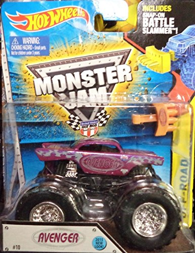 2015 ALL NEW LOOK! Avenger Monster Jam Off Road Truck By Hot Wheels 1:64 with Battle Slammer by Hot Wheels